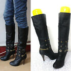 Women Removable Chians Basic Long Boots Black SIZE SP0018#