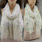 Vintage Flower Print Embroidery Lace Floral Crochet Stitching Ruffle Scarf Shawl
