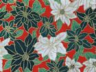 CHRISTMAS large POINSETTA RED 100% COTTON fabric patchwork bunting craft