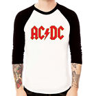 ACDC Logo-red Angus Young rock metal Baseball t-shirt 3/4 sleeve Raglan Tee