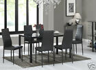 Glass Dining Table Set and with 6 Black Faux Leather Chairs Rectangle Designer