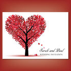 Personalised Wedding Day Evening Invitations Invites + Envelopes Love Heart Tree