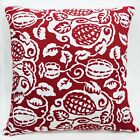 Lf306a White Red Plant Pure Cotton Canvas Fabric Cushion Cover/Pillow Case