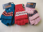 GIRLS FAIRISLE FINGERLESS GLOVES/MITTENS ONE SIZE- AVAILABLE IN 3 COLOURS