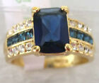 New Gold Plated blue Crystal Inlay Zircon Ring Size 7,8,9