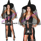 Black Widow Witch Halloween Dress Costume with Hat Exotic Dancer