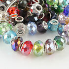 Faceted Glass Silver Plated Findings European Big Hole Charm Beads Fit DIY 14mm