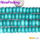 "Rondelle Blue Turquoise Stone Craft Jewelry Making Loose Beads Gemstone 15""DIY"