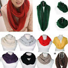 New Womens Autumn Winter Warm 2 Circle Cable Knit Cowl Neck Scarf Shawl 15 Color