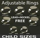 100 x Adjustable SILVER Plated CHILDRENS Size RINGS BASES BLANKS Pads * 8mm 10mm