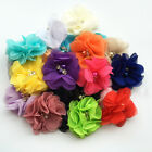 Hair accessory DIY 2inch chiffon pearl rhinestone lace Chiffon Flowers Xmas New
