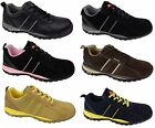 Mens Womens Safety Warehouse Work Shoes Trainers Suede Leather Black Navy Brown