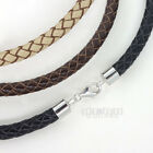Sterling Silver 6mm Braided Genuine Leather Cord Necklace/Bracelet Lobster Clasp