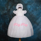 Beaded Baby Baptism Christening Gown Dress Bonnet Wedding White Size 0-18m CN004