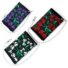 NEW CHERRY SKULLS PUNK ROCK GOTH TRIFOLD CANVAS WALLET WITH SMALL CHAIN W109