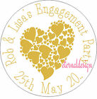 PERSONALISED ENGAGEMENT GOLD LOVEHEART  STICKER SEALS GIFT FAVOUR INVITES ENG14