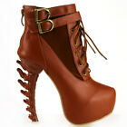 Punk Lace Up Buckle High-top Bone High Heels Platform Ankle Boots UK Size 2.5-7