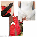 Ladies Gloves Elbow Length Black, White & Red Beautiful Stretchy Shiny Satin