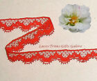 """7/14 Yards 3/4"""" Vintage Red Fabric Lace Trim M80AV Buy More-Ship No Charge"""