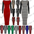 Womens Ladies PVC Leather Look Long Sleeves Stretch Bodycon Long Top Midi Dress