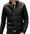 Men Leather Designer Black Jacket YKK Zippers Sz S-5XL Colombian Couture