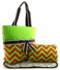 Chevron Zigzag Print Fabric Quilted 3PC SET Diaper Tote Bag Purse Lime +3Color