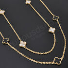 New Quatrefoil 8 Station Extra Long Necklace Mother of Pearl Onyx Gold Silver