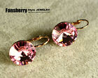 18k Rose Gold GP swarovski Element crystal earring Pink amazing cuff party ER031