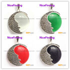 nicefinding 26mm coin bead marcasite silver pendant 36x47mm FREE gift box +chain