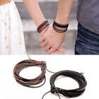 LEATHER WRISTBAND BRACELET BRAIDED WOVEN MULTI-LAYER MENS & LADIES BROWN / BLACK