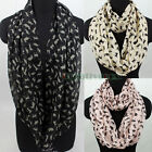 Fashion Chiffon Chic Cat Print Infinity 2-Loop Cowl Eternity Circle Soft Scarf