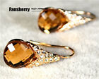 18k Rose Gold GP swarovski Element Brown crystal party Pear-shaped earring ER013