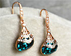 18k Rose Gold GP swarovski Element crystal blue pear dangle earring gift ER188