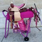 English Western Show Rolling Saddle Stand Rack Stack Haul basket PURPLE PINK BLK