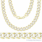Cuban Curb Sterling Silver 14k Yellow Gold Men's 6.9mm Link Italy Chain Necklace