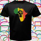 New AFRICA POWER RASTA REGGAE Solidarity Men's Black T-Shirt Size S to 3XL