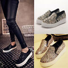 Womens Blingbling Sequins Casual Chunky Sole Wedge Flats Size 7016#