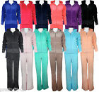 Womens Ladies Full Hooded Velour Tracksuit Jogging Yoga Sport Gym Suit Size 8-16