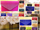 SATIN EVENING WEDDING BRIDAL CLUTCH CRYSTAL DIAMANTE  ELVENLOPE HANDBAG