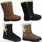LADIES WOMENS RUBBER SOLE SNOW WARM FUR LINED BAILEY 2 BUTTON ANKLE BOOTS SHOES