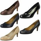 Ladies Clarks Arista Abe Smart Mid Heel Court Shoes D & E Fittings