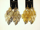 A Pair of Leaf Drop Dungle Earring,W/Gold Plated
