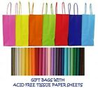 PARTY GIFT BAGS X 12 - WITH TISSUE PAPER - BIRTHDAY/WEDDINGS/CHRISTENINGS