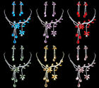 Crystal Diamante Jewellery Set Necklace Clip On Earrings Colour Choices (AS09)