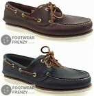 MENS 74035 74036 CLASSIC TIMBERLAND 2 EYE BOAT DECK SHOES BROWN / NAVY LEATHER