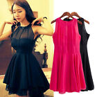 NEW Women Sleeveless Sexy Backless Chiffon Party Ball Prom Evening Short Dress