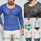 Breathable Mens See-through Pocket Slim Round Crew Knit Tee Blue Pink by Guylook