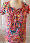 ~Chaps~Women  Pink Paisley Print Short Sleeve Blouse $49 Size XS ~NWT