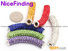 9x48mm Long Crystal Tube CZ Rhineston Disco Bead Jewelry Bracelets 5pc 34 colors