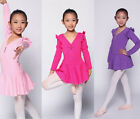 New Child girls long flounced sleeves lycra PINK/Lilac ballet dance dress 2-12T